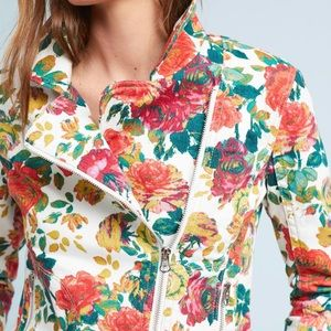 Anthropologie // Pilcro Floral Printed Moto Jacket